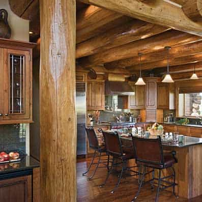Handcrafted Log Kitchen 6