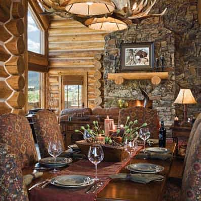 Handcrafted Log Dining Room 6