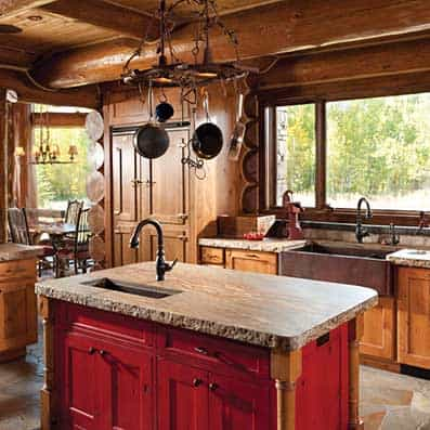 Handcrafted Log Kitchen 8