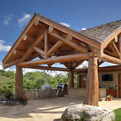 outdoor kitchen log structure