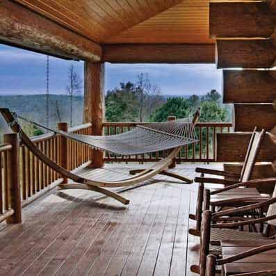 handcrafted log home deck