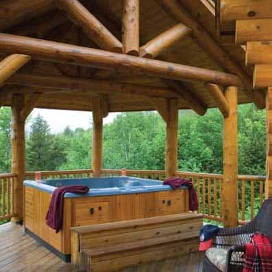 log home hot tub