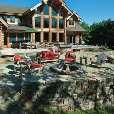 Log home fire pit