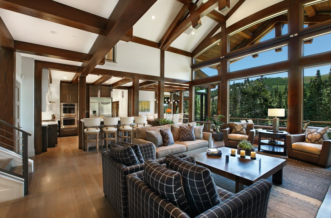 modern timber frame great room