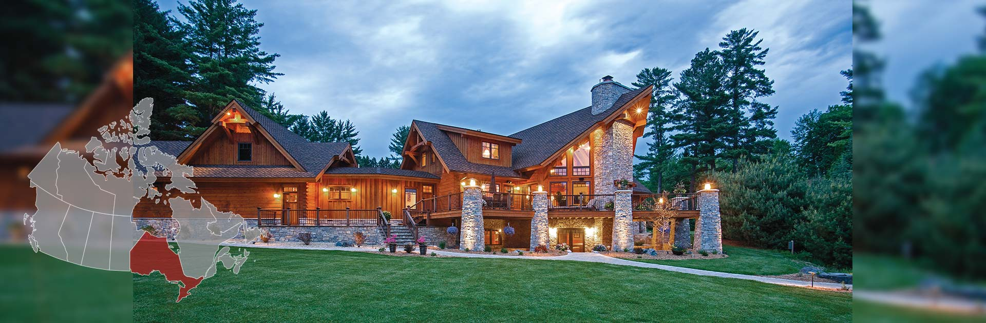 Ontario log homes and timber cottages by precisioncraft for Log home plans ontario