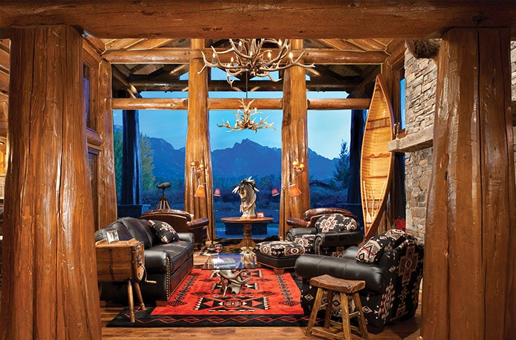 Luxury log home great room