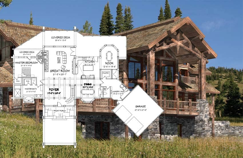Handcrafted log home floor plan concept