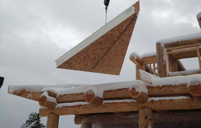 SIP roof install on a log post and beam home