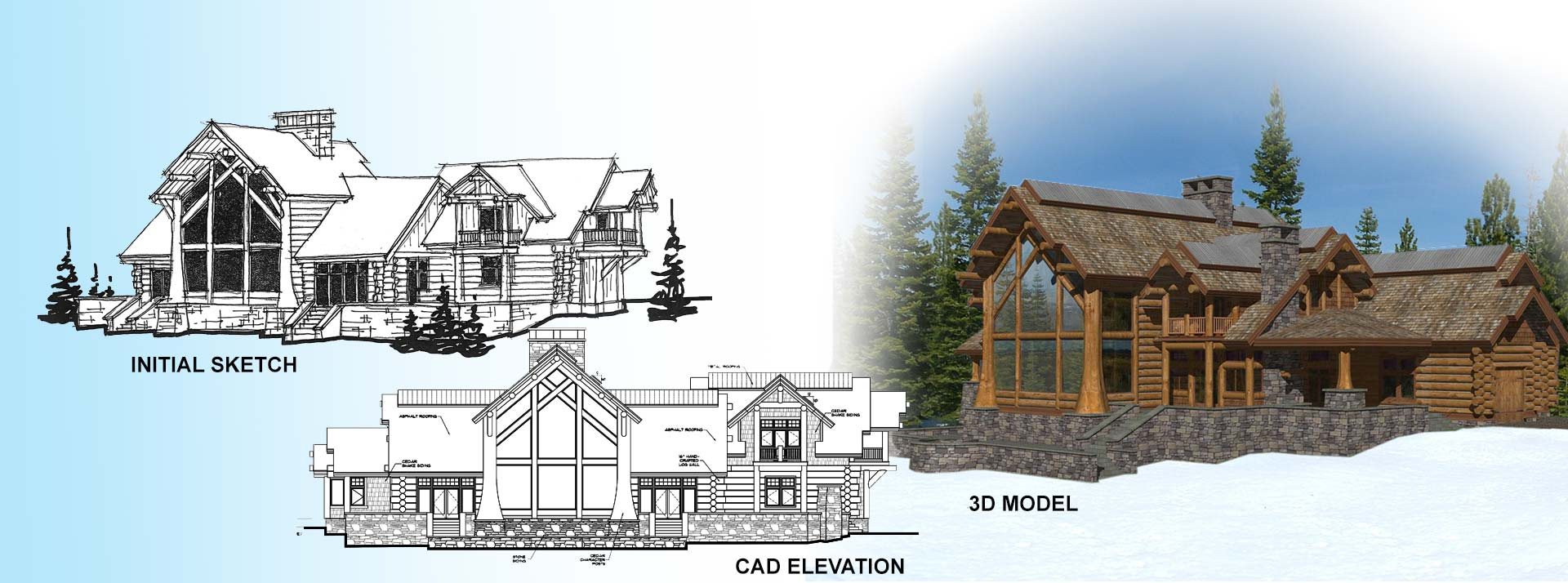 Timber and log home design process.