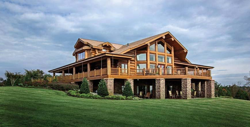 leed certified handcrafted log home
