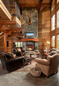 How is interior maintenance completed for this Log Home Great Room?
