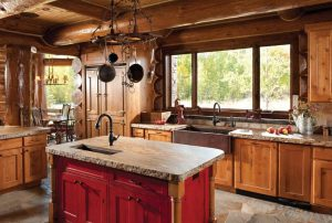 Kitchen in Handcrafted Log Home