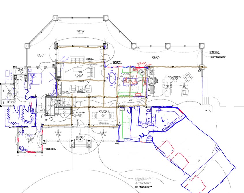 Sketches over floor plan