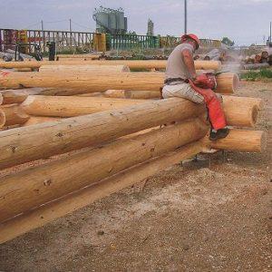 Craftsman fitting together handcrafted log home