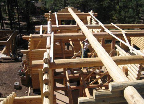 milled log home under construction