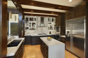 solid surface countertop, sleek, modern, frameless cabinets