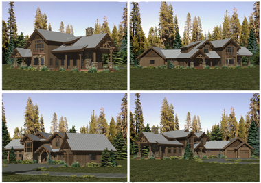 Renderings of all four sides of the home