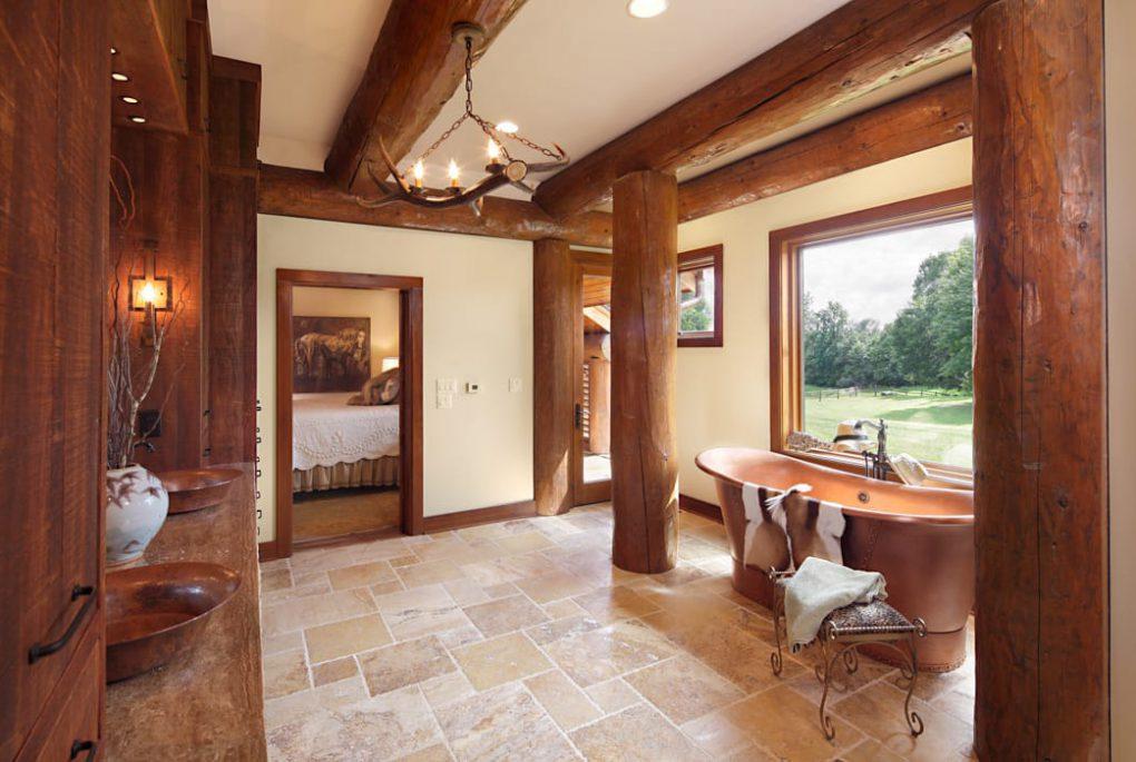 log home bathroom