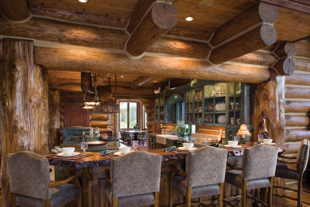 handcrafted log home kitchen with visible chinking