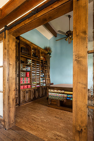 Beautiful craft room framed with timbers